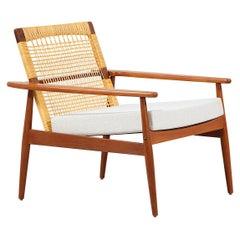 Hans Olsen Teak and Cane Lounge Chair for Juul Kristensen