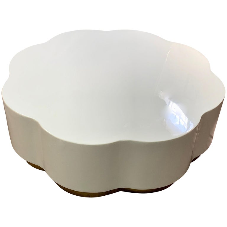 Robert Kuo Leaf Design Lacquered Cocktail Table For Sale