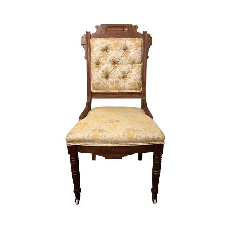 Hand Carved Brocade Covered Chair with Casters in the Style of East lake