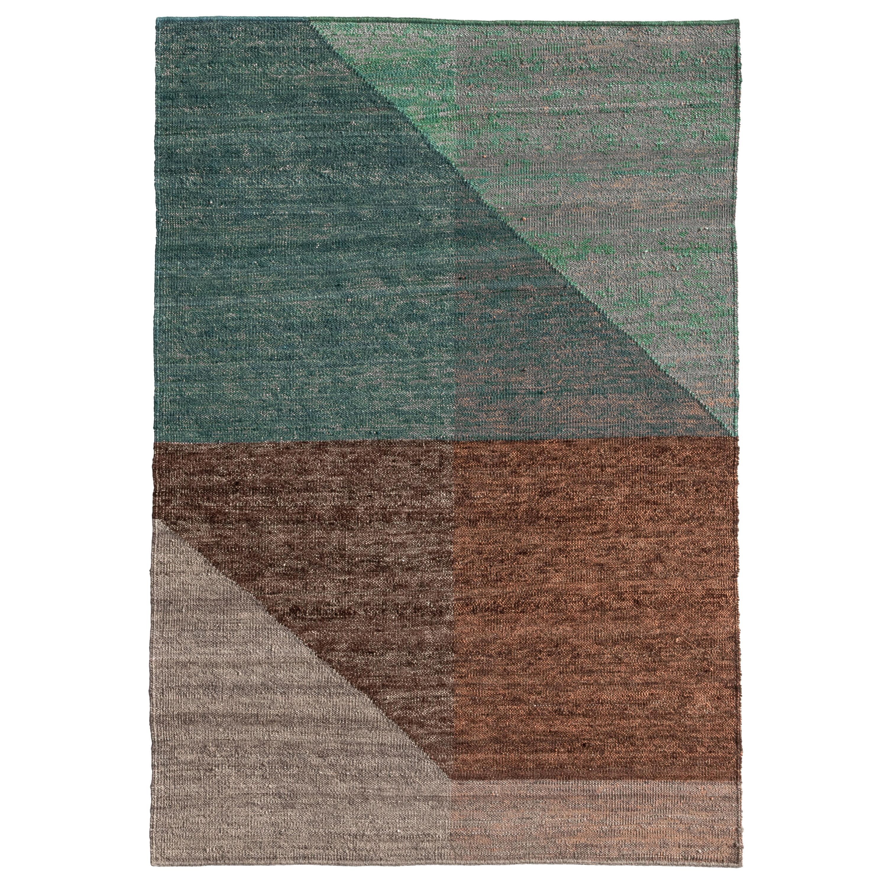 Nanimarquina Capas 2 Standard Rug in Green and Brown by Mathias Hahn
