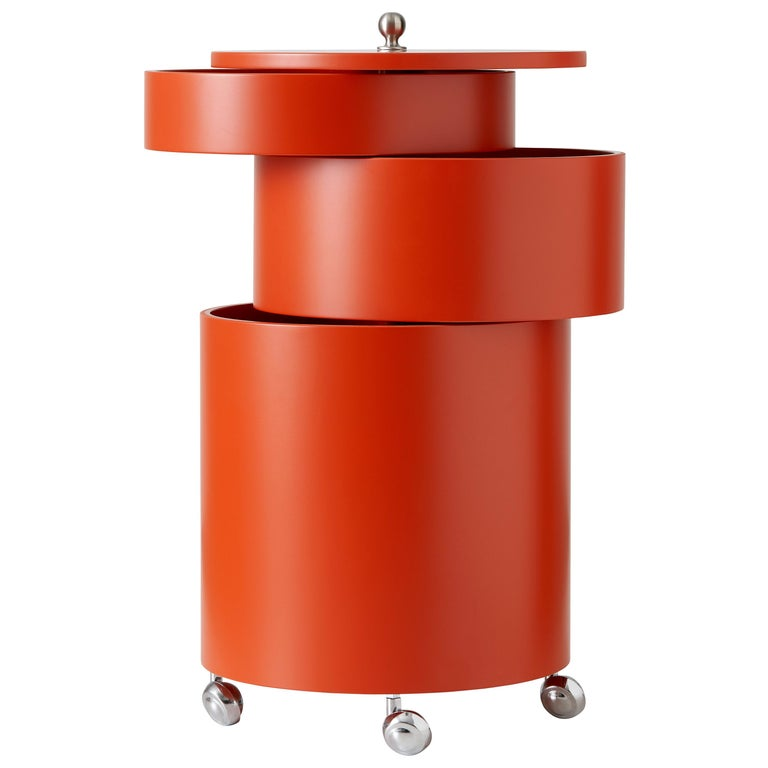 Barboy Side Table and Storage Cabinet in Orange by Verner Panton For Sale