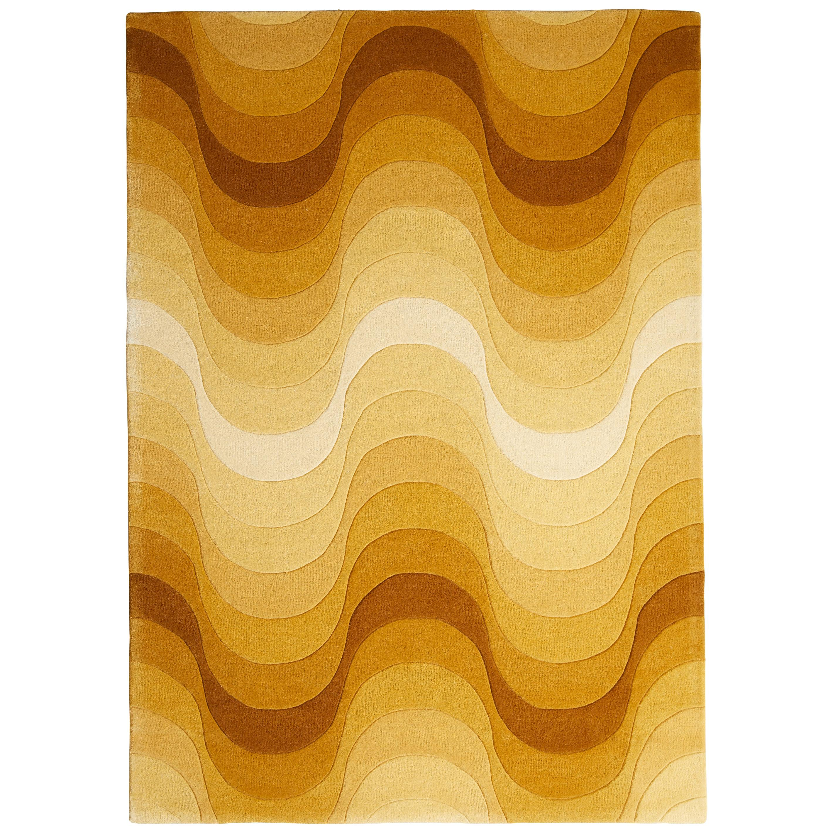 Wave Hand-Tufted Rug in Yellow by Verner Panton