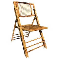 Folding Bamboo Tiger Wood Zebra Patio or Lawn Chair British Colonial Style