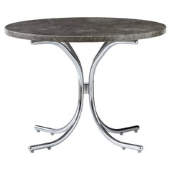 Modular Table with White Carrara Marble Top and Chrome Base by Verner Panton