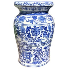 Blue and White Chinoiserie Ceramic Floral Garden Stool Urn Shape