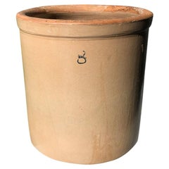 French Brown Ceramic Clay Cream Crock or Planter for the Garden with Number 8