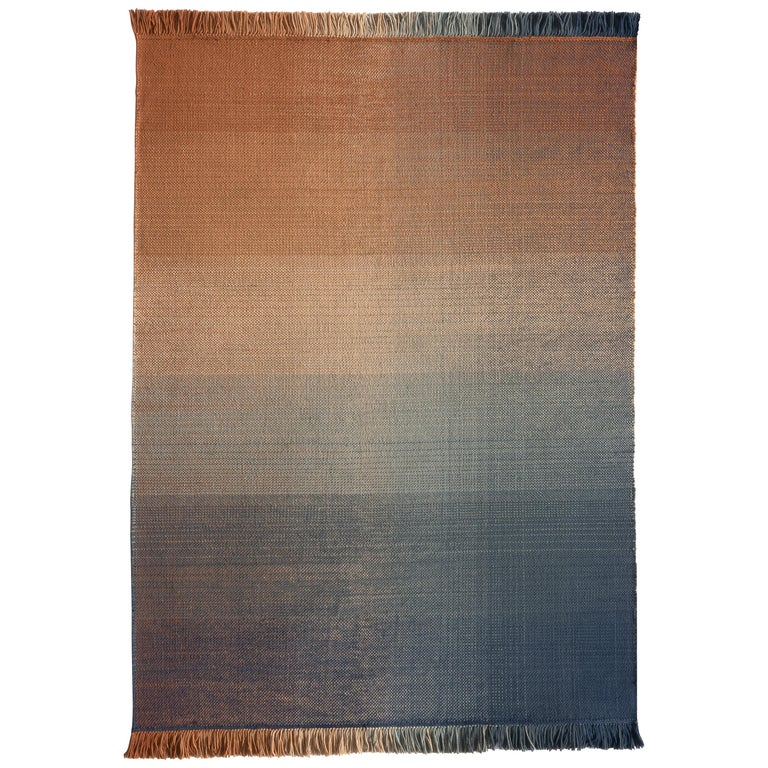 Nanimarquina Shade Outdoor Rug 2 in Blue and Orange by Begüm Cana Özgür For Sale