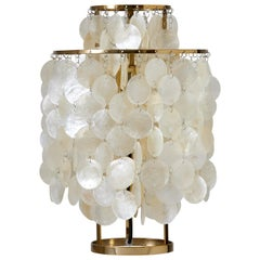Fun 2TM Mother of Pearl Table Lamp with Brass Finish by Verner Panton