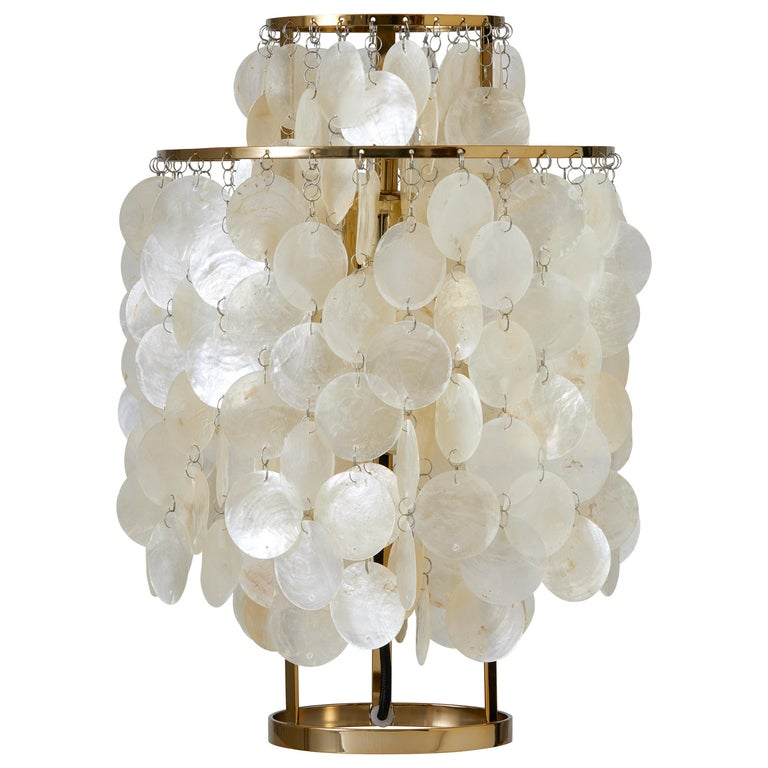 Fun 2TM Mother of Pearl Table Lamp with Brass Finish by Verner Panton For Sale