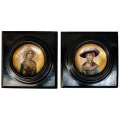 French 19th Century Pair of Paris Porcelain Framed Plates, circa 1860