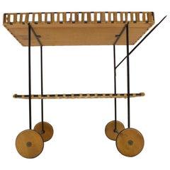 Wicker Trolley Bar Cart in the Manner of Carl Auböck, 1950s