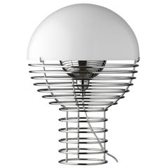Wire Small Table Lamp in White by Verner Panton