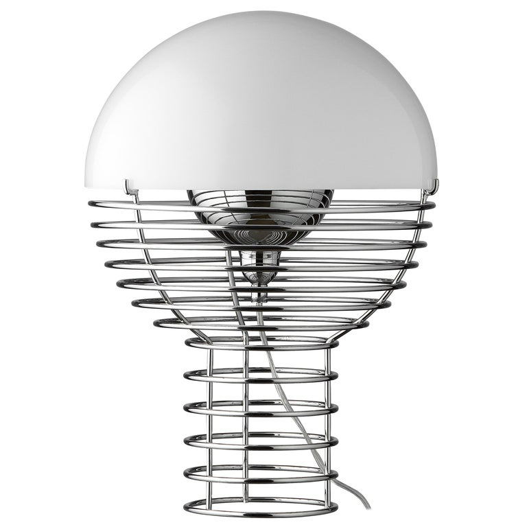 Wire Small Table Lamp in White by Verner Panton For Sale