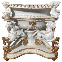 19th Century Empire Biscuit Porcelain Centerpiece, 1890s
