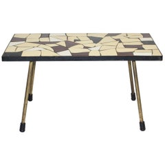Mid-Century Modern Vintage Brass White Brown Ceramic Tile Sofa Table, circa 1950