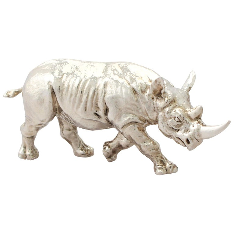 Contemporary Sterling Silver Model of a Rhinoceros, 2011 For Sale