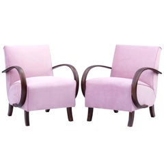 Art Deco Pink Lounge Chairs by Jindrich Halabala for UP Zavody Brno, 1930s