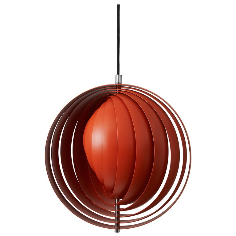 Moon Small Pendant Light in Orange by Verner Panton For Sale