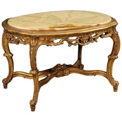 20th Century Gilt Plaster and Wood with Onyx Top Italian Coffee Table, 1960