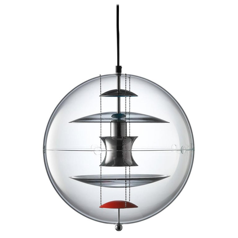 VP Globe Tinted Glass Pendant Light by Verner Panton For Sale