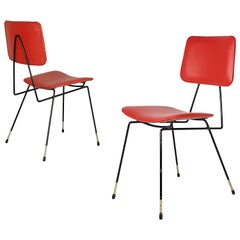 Pair of Black Metal and Red Skai Italian 1950s Chairs in the Style of G. Rinaldi
