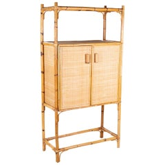 1980s Spanish Bamboo Two-Door Shelved Bookcase