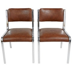 Pair of Brown Chrome Chairs, 1970s