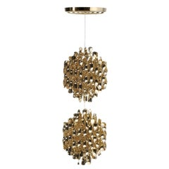 Spiral SP2 Pendant Light with Gold Finish by Verner Panton