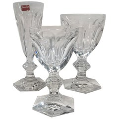 Baccarat Set Three Clear Crystal Goblets Glasses, France 21st Century