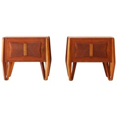 Fully Restored Pair of Italian Teak Bedside Tables