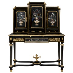 Louis XVI Style Pietre Dure Mounted Ebonised Writing Table, circa 1870