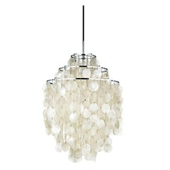 Fun 1DM Mother of Pearl Pendant Light by Verner Panton