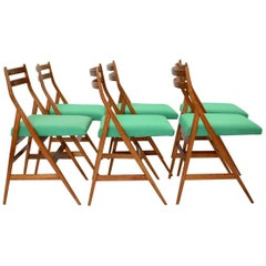 Mid-Century Modern Vintage Wood Dining Chairs Piero Bottoni Attributed, Italy