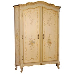 20th Century Lacquered, Gilt, Painted Wood Italian Wardrobe, 1960