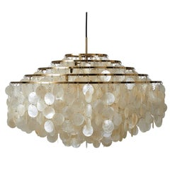 Fun 11DM Seashell Pendant Light with Brass Finish by Verner Panton