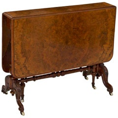 English Victorian Burl Walnut Sunderland Antique Drop-Leaf Table, 19th Century