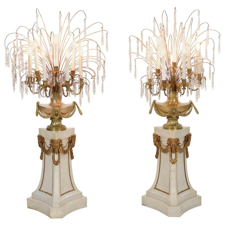 Pair Of French Neoclical Antique Marble Floor Candelabra Lamps 20th Century For