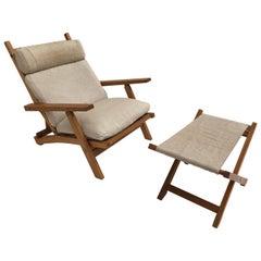 Amazing Danish Hans Wegner AP71 Reclining Lounge Chair & Ottoman AP Mobler 1968