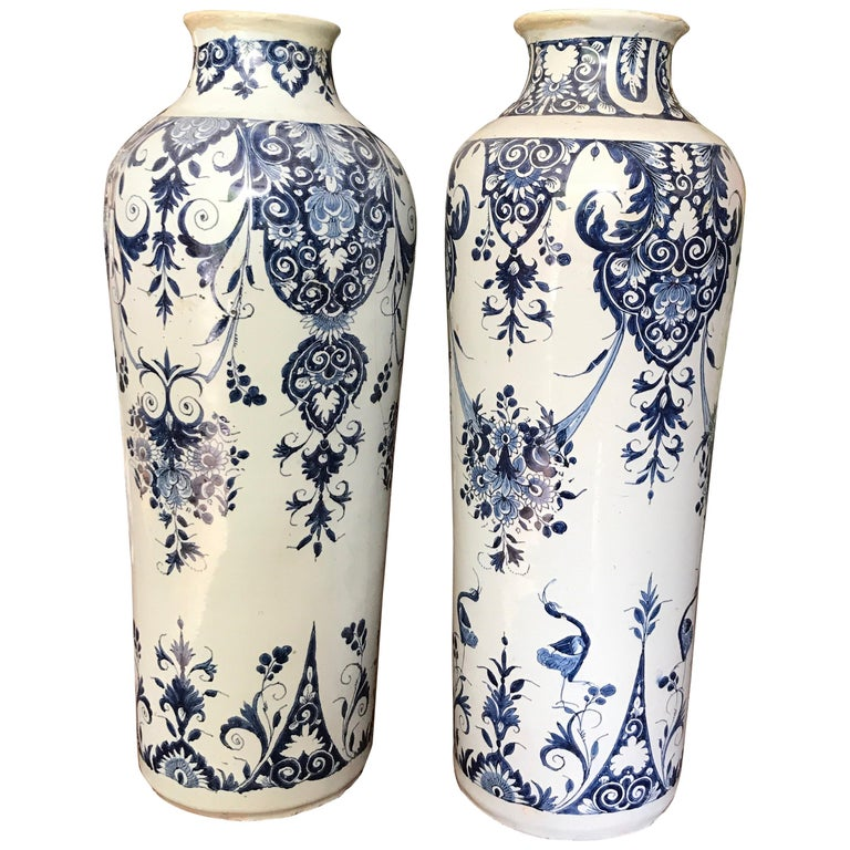 Pair off Delft Vases, Late 18th Century For Sale