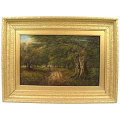 Late Victorian Forest Landscape Oil on Canvas