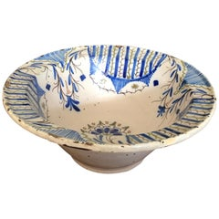 Majolica Bowl Spanish 18th Century Delft Blue