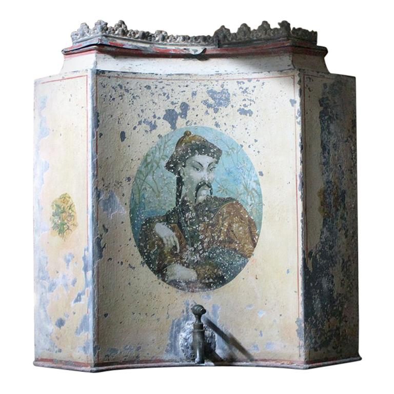Early 19th Century French Chinoiserie Tôle Peinte Water Urn, circa 1820 For Sale