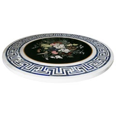 Round Italian Pietre Dure Inlay Marble Tabletop with Lapis Lazuli