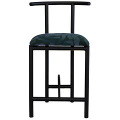 Diner Black Chair Metal with Pattern Textile Contemporary Style