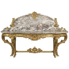 Louis XV Style Carved Giltwood and Gilt-Bronze Mounted Console Table, circa 1880