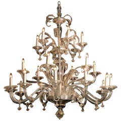 Venetian Clear-Glass and Gilt Decorated Twenty-Four Light Chandelier, circa 1910