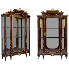 Pair of Louis XVI Style Mahogany Vitrines by François Linke, circa 1890