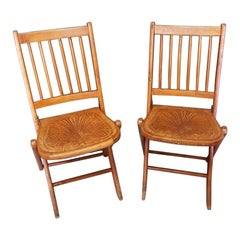Pair of Early 20th Century Thonet Style Folding Chairs