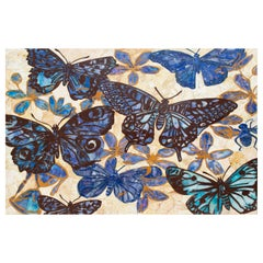 Marble Mosaic Table Top with Colourful Butterflies