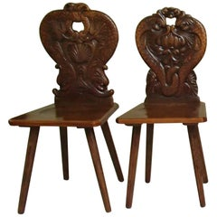 Pair of Brutalist Wooden Chairs Carved with Fabulous Creatures, Dragons